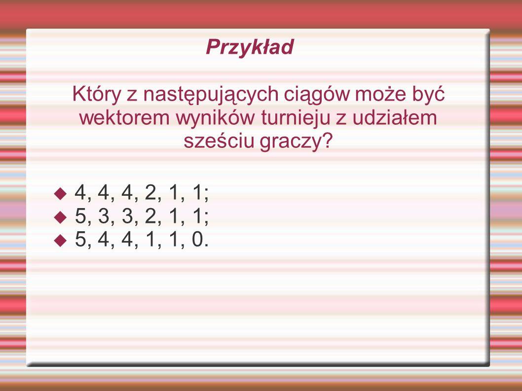 Przykład Który z następujących ciągów może być wektorem wyników turnieju z udziałem sześciu graczy