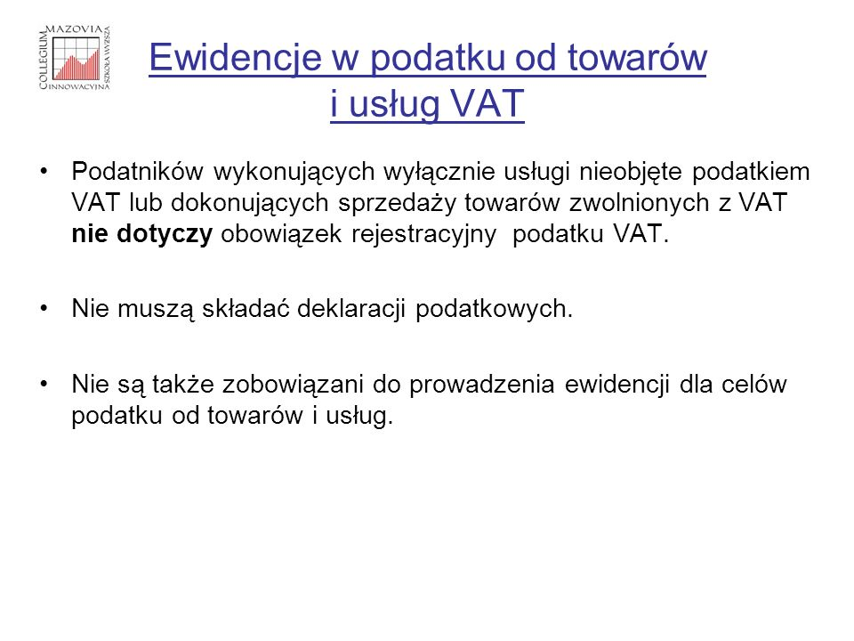 Ewidencje w podatku od towarów i usług VAT