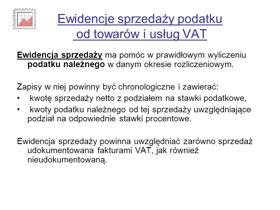 Ewidencje sprzedaży podatku od towarów i usług VAT