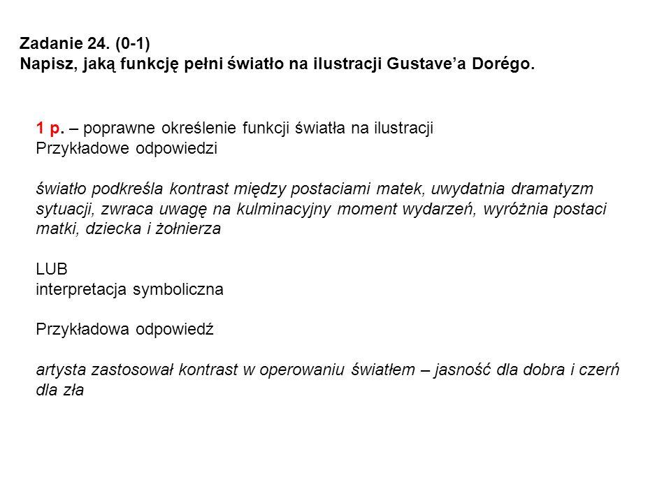Zadanie 24. (0-1)Napisz, jaką funkcję pełni światło na ilustracji Gustave'a Dorégo. 1 p. – poprawne określenie funkcji światła na ilustracji.
