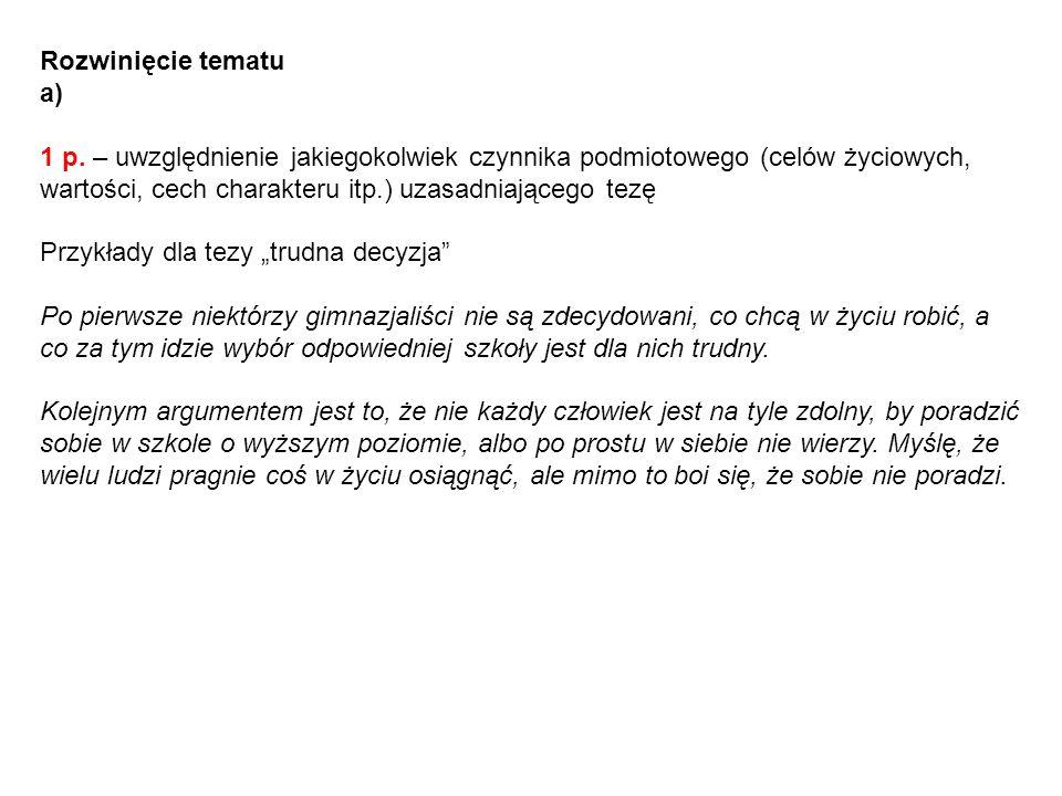 Rozwinięcie tematua)