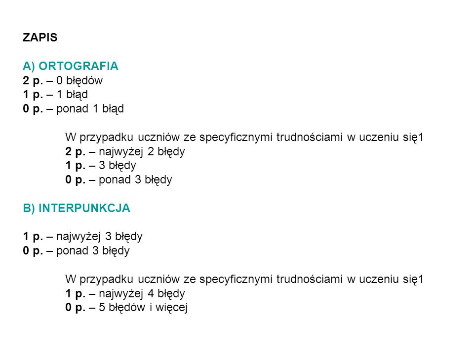 ZAPIS A) ORTOGRAFIA. 2 p. – 0 błędów. 1 p. – 1 błąd. 0 p. – ponad 1 błąd. W przypadku uczniów ze specyficznymi trudnościami w uczeniu się1.