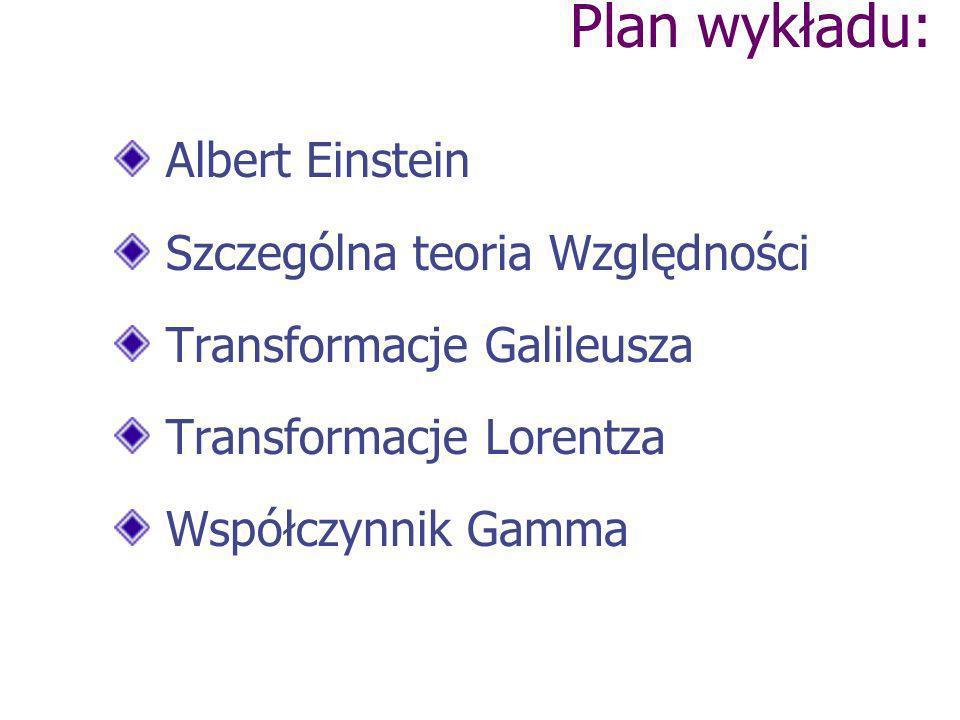 Plan wykładu: Albert Einstein Szczególna teoria Względności