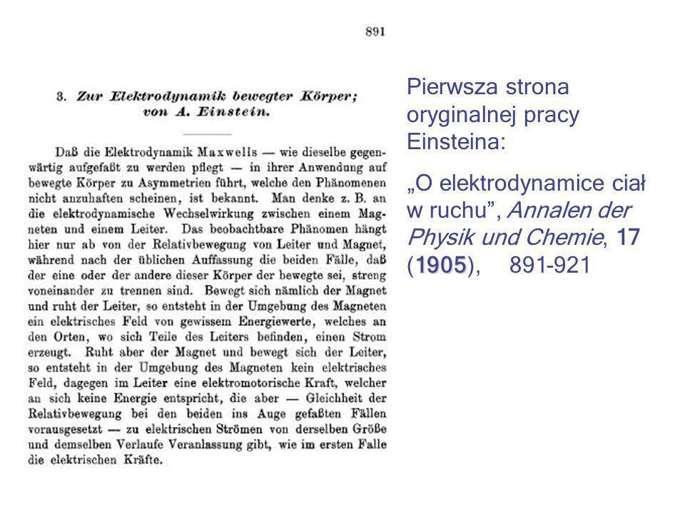 Pierwsza strona oryginalnej pracy Einsteina: