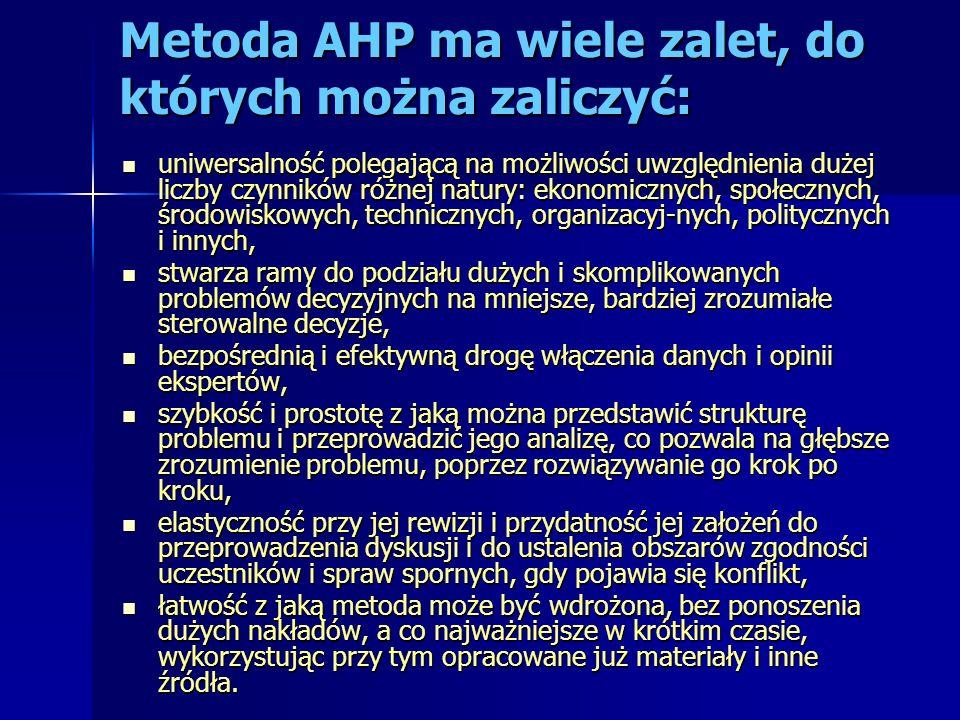 Metoda AHP ma wiele zalet, do których można zaliczyć: