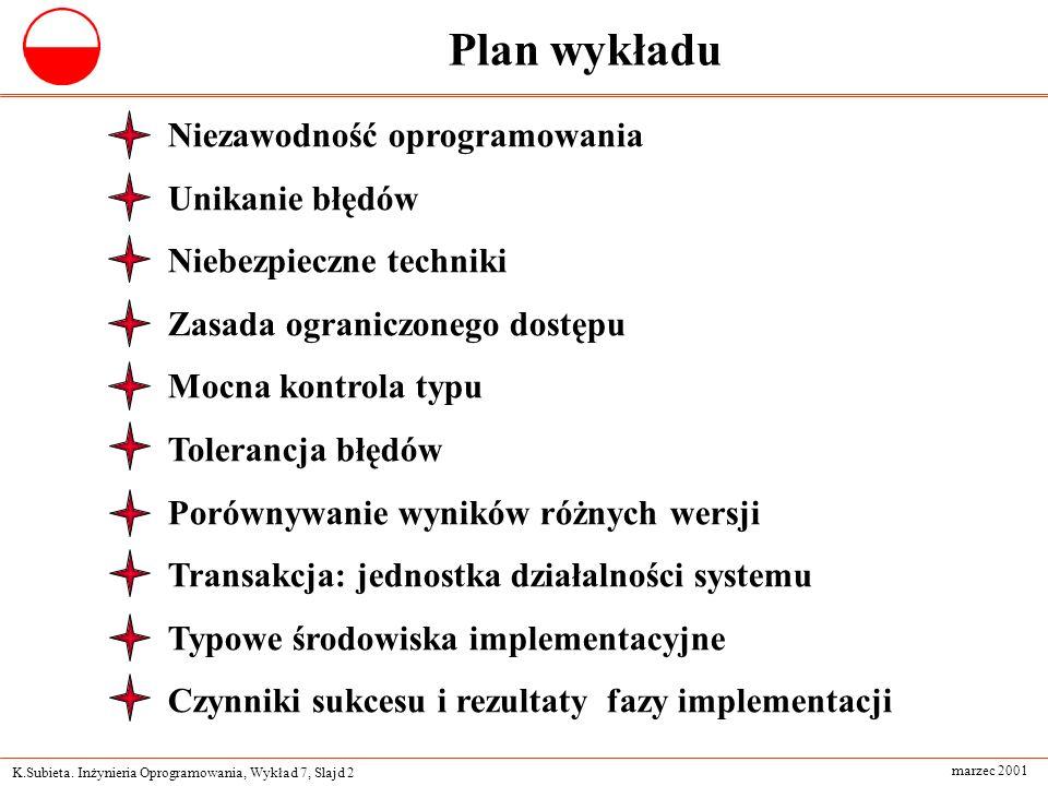 Plan wykładu Niezawodność oprogramowania Unikanie błędów
