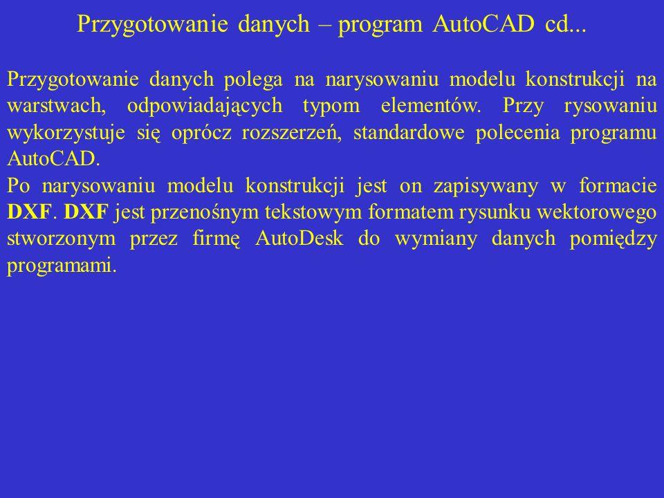 Przygotowanie danych – program AutoCAD cd...