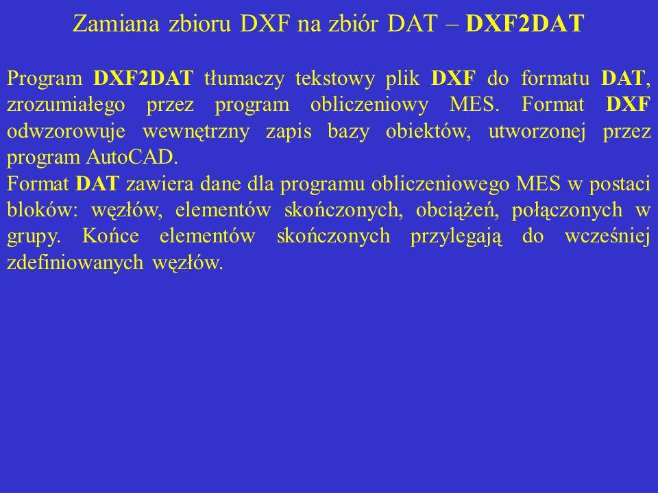 Zamiana zbioru DXF na zbiór DAT – DXF2DAT