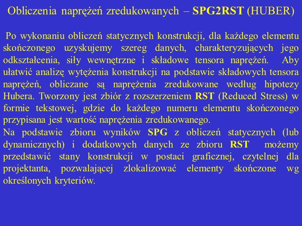 Obliczenia naprężeń zredukowanych – SPG2RST (HUBER)