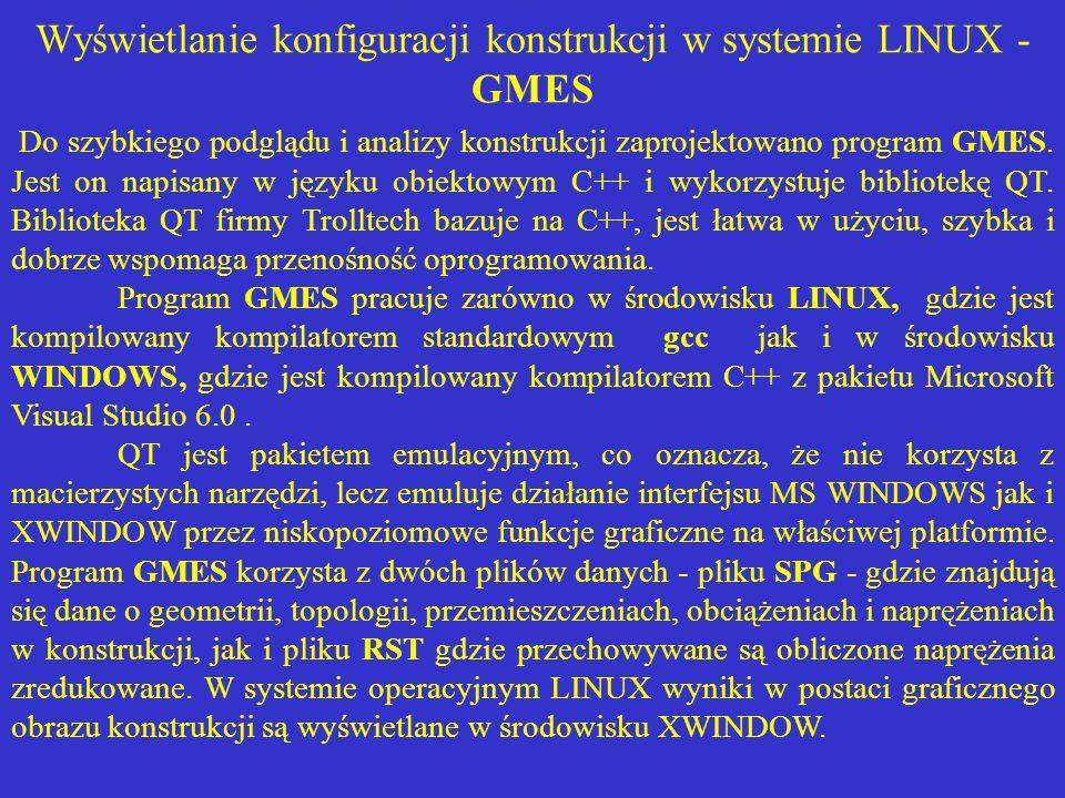 Wyświetlanie konfiguracji konstrukcji w systemie LINUX - GMES