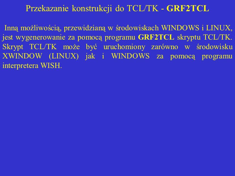 Przekazanie konstrukcji do TCL/TK - GRF2TCL