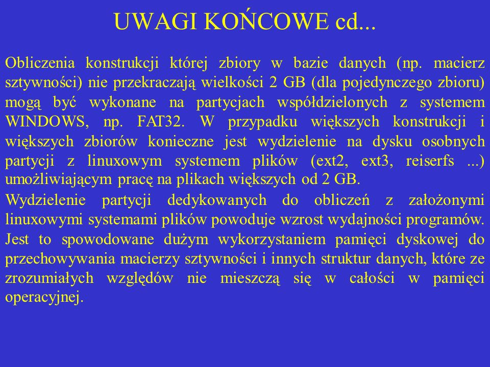 UWAGI KOŃCOWE cd...