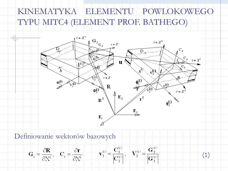 KINEMATYKA ELEMENTU POWLOKOWEGO TYPU MITC4 (ELEMENT PROF. BATHEGO)