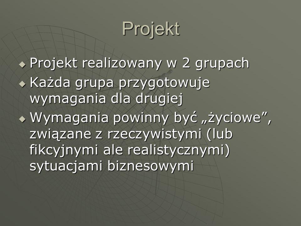 Projekt Projekt realizowany w 2 grupach