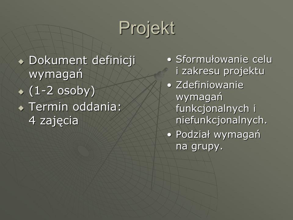 Projekt Dokument definicji wymagań (1-2 osoby)