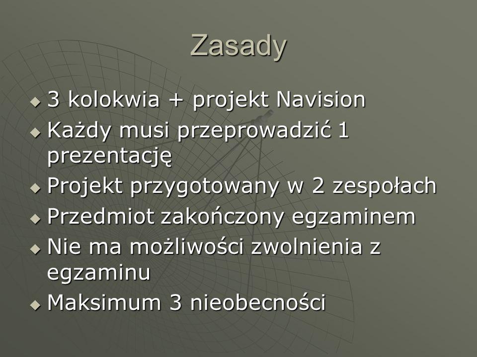 Zasady 3 kolokwia + projekt Navision