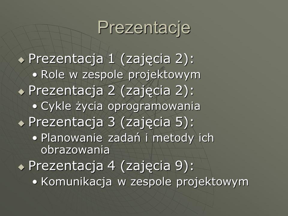 Prezentacje Prezentacja 1 (zajęcia 2): Prezentacja 2 (zajęcia 2):