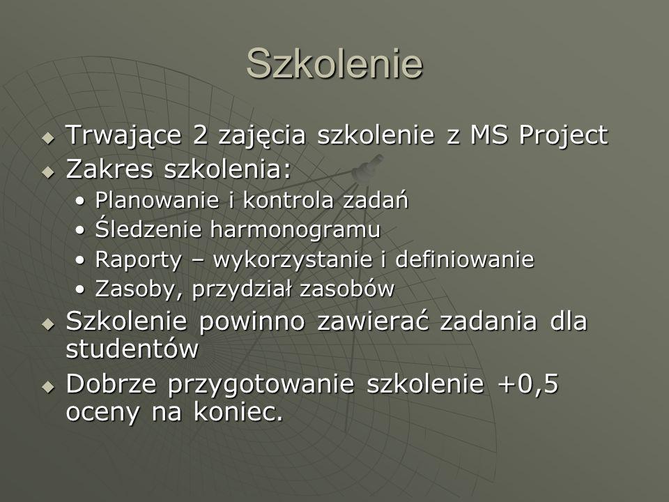 Szkolenie Trwające 2 zajęcia szkolenie z MS Project Zakres szkolenia: