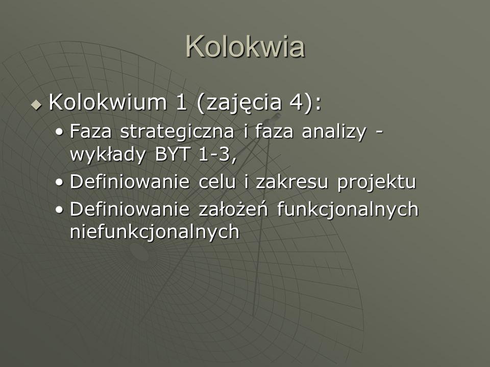 Kolokwia Kolokwium 1 (zajęcia 4):