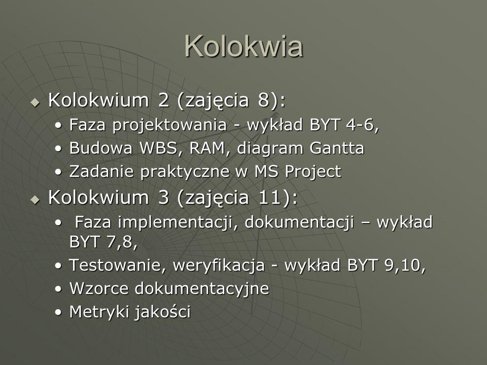 Kolokwia Kolokwium 2 (zajęcia 8): Kolokwium 3 (zajęcia 11):