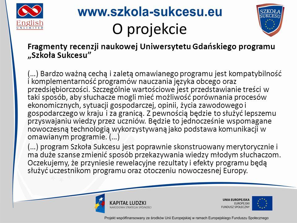 """O projekcie Fragmenty recenzji naukowej Uniwersytetu Gdańskiego programu """"Szkoła Sukcesu"""