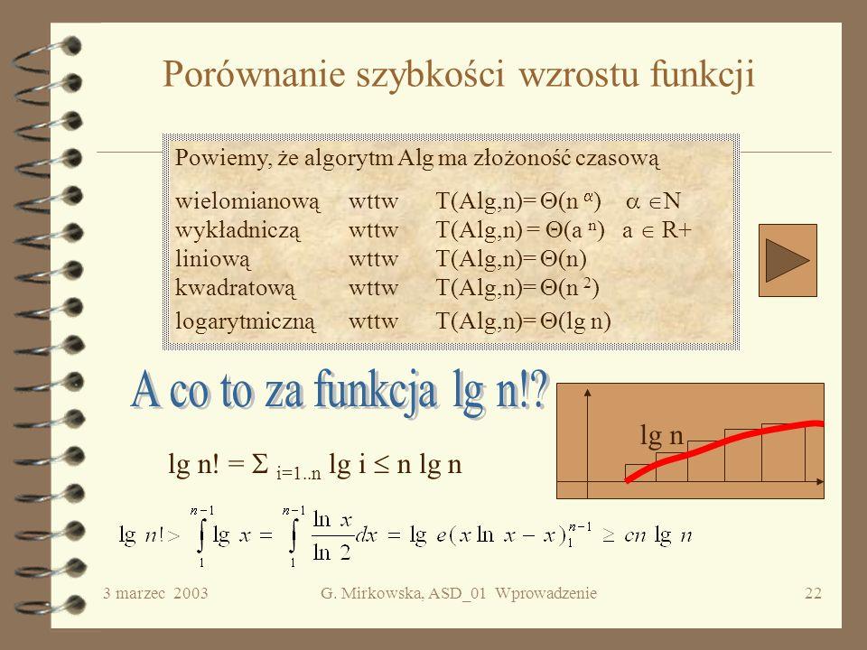 Porównanie szybkości wzrostu funkcji