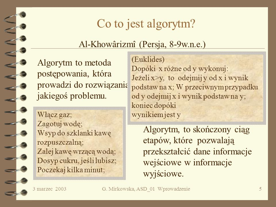 G. Mirkowska, ASD_01 Wprowadzenie