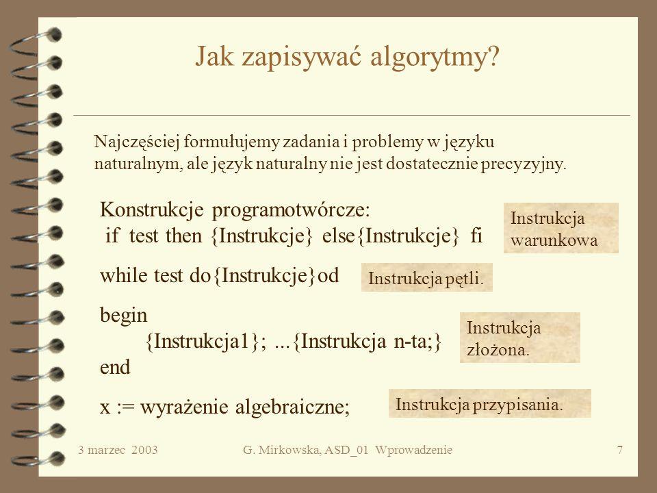 Jak zapisywać algorytmy