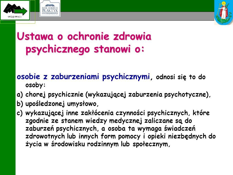 Ustawa o ochronie zdrowia psychicznego stanowi o: