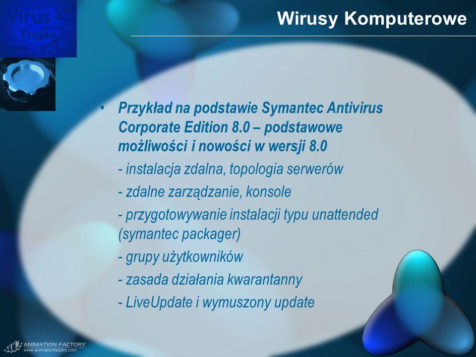 Wirusy KomputerowePrzykład na podstawie Symantec Antivirus Corporate Edition 8.0 – podstawowe możliwości i nowości w wersji 8.0.