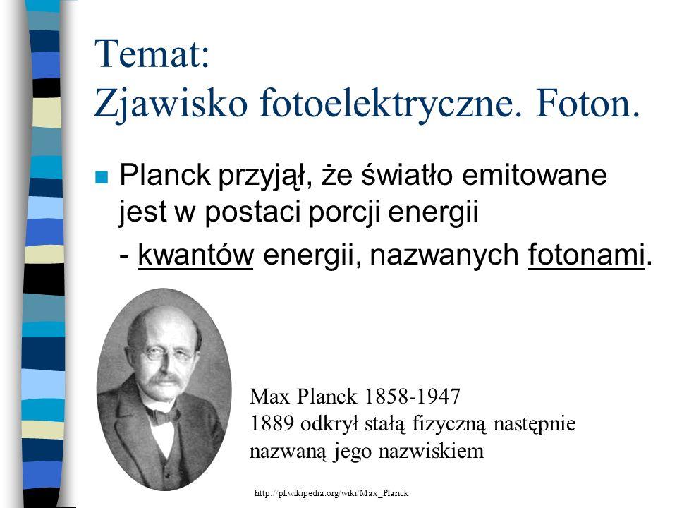 Temat: Zjawisko fotoelektryczne. Foton.