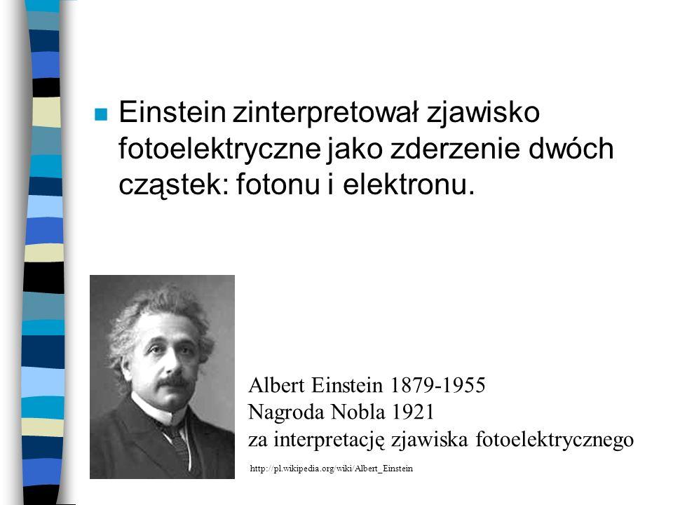 Einstein zinterpretował zjawisko fotoelektryczne jako zderzenie dwóch cząstek: fotonu i elektronu.