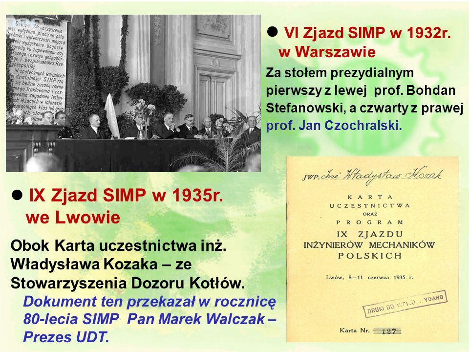 l VI Zjazd SIMP w 1932r.w Warszawie. Za stołem prezydialnym pierwszy z lewej prof. Bohdan Stefanowski, a czwarty z prawej prof. Jan Czochralski.