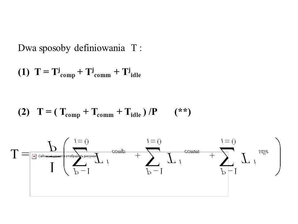 T = Dwa sposoby definiowania T : (1) T = Tjcomp + Tjcomm + Tjidle