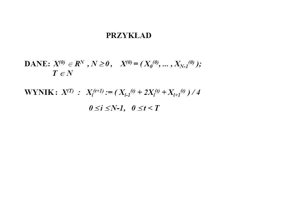 PRZYKŁAD DANE: X(0)  RN , N  0 , X(0) = ( X0(0), ... , XN-1(0) ); T  N. WYNIK : X(T) : Xi(t+1) := ( Xi-1(t) + 2Xi(t) + Xi+1(t) ) / 4.