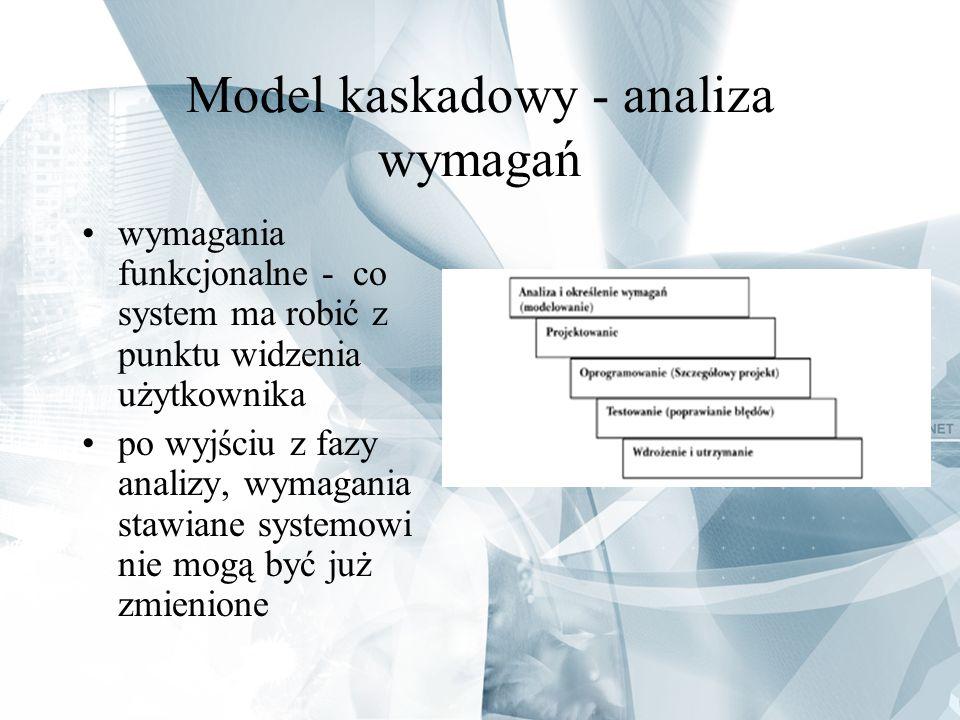 Model kaskadowy - analiza wymagań