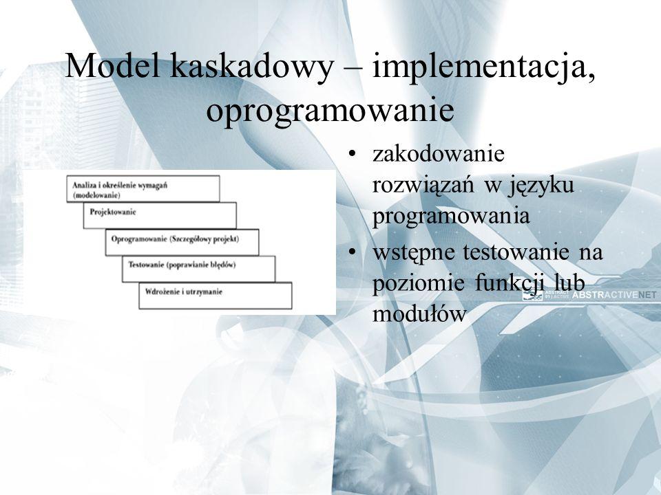Model kaskadowy – implementacja, oprogramowanie