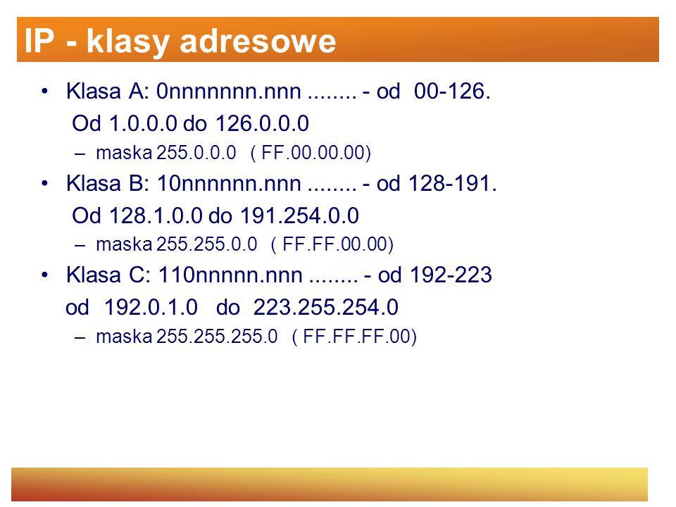 IP - klasy adresowe Klasa A: 0nnnnnnn.nnn ........ - od 00-126.