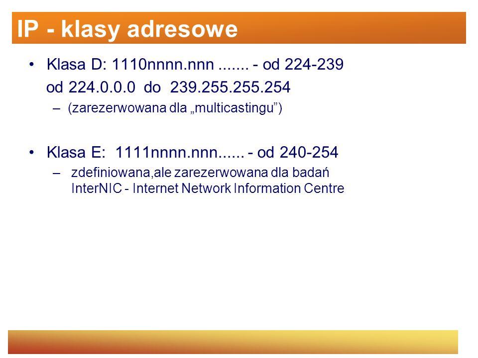 IP - klasy adresowe Klasa D: 1110nnnn.nnn ....... - od 224-239
