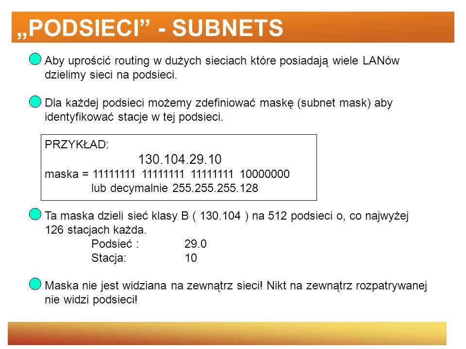 """""""PODSIECI - SUBNETSAby uprościć routing w dużych sieciach które posiadają wiele LANów. dzielimy sieci na podsieci."""