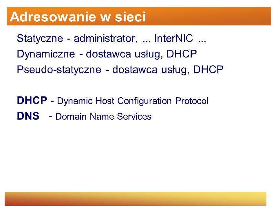 Adresowanie w sieci Statyczne - administrator, ... InterNIC ...