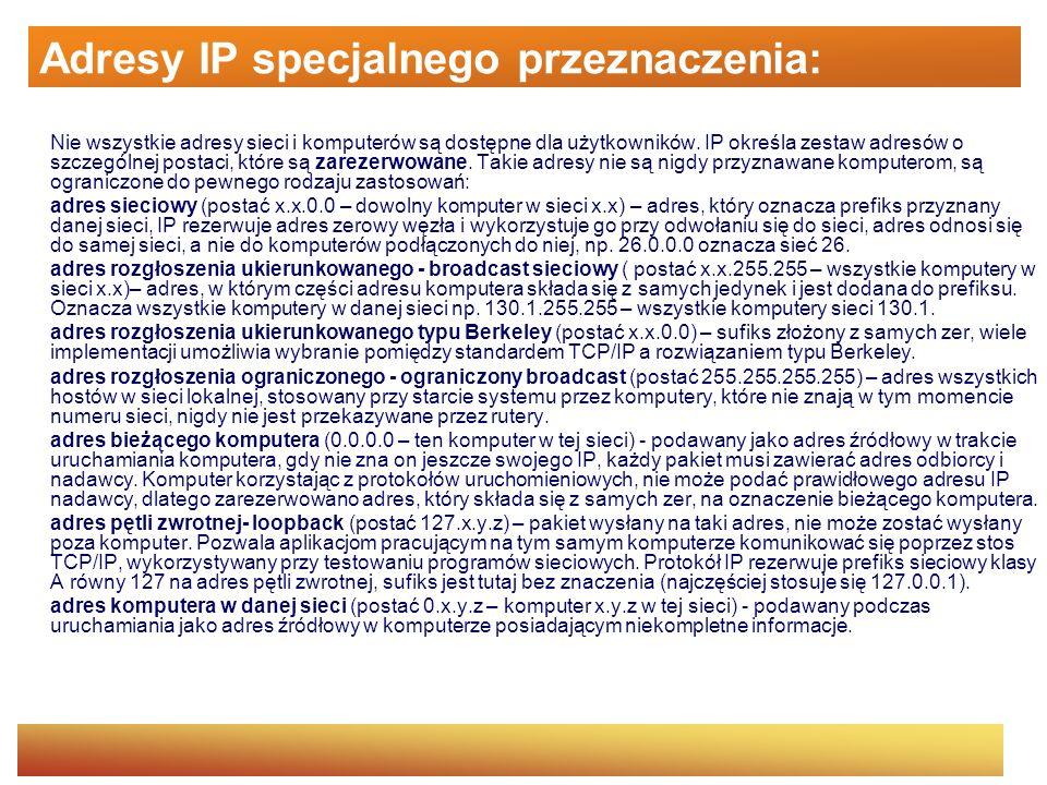 Adresy IP specjalnego przeznaczenia: