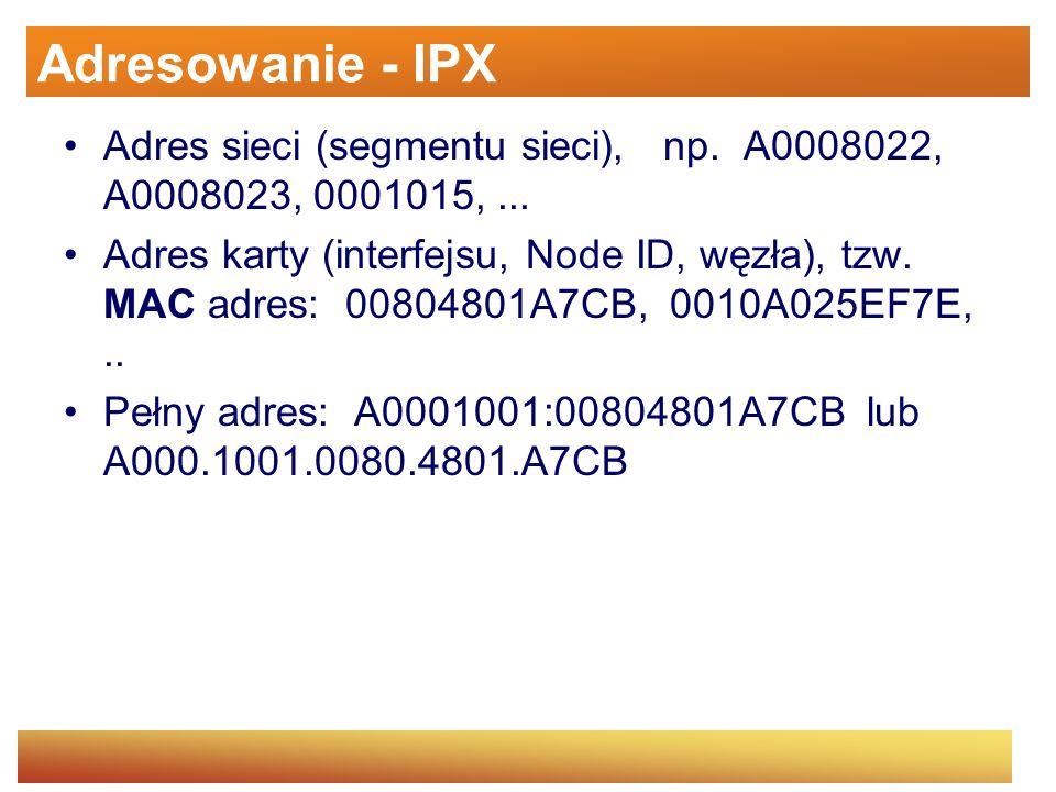 Adresowanie - IPX Adres sieci (segmentu sieci), np. A0008022, A0008023, 0001015, ...
