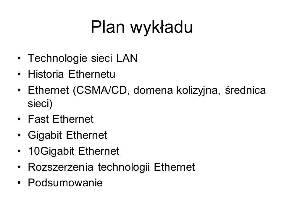 Plan wykładu Technologie sieci LAN Historia Ethernetu
