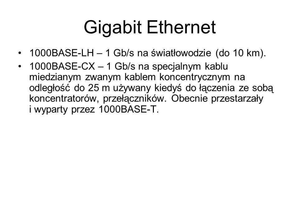 Gigabit Ethernet 1000BASE-LH – 1 Gb/s na światłowodzie (do 10 km).