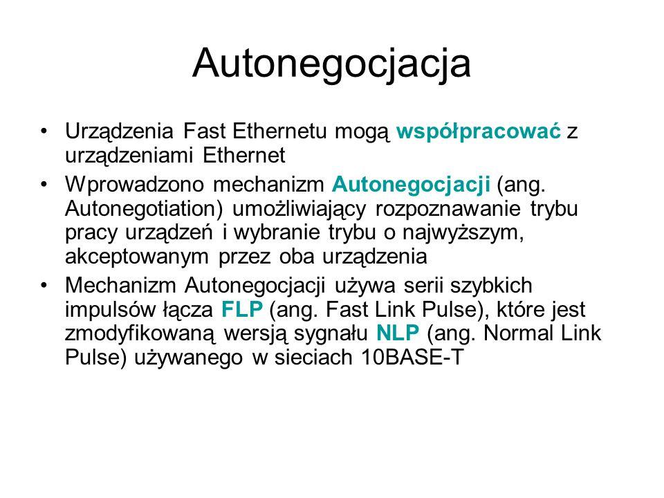 AutonegocjacjaUrządzenia Fast Ethernetu mogą współpracować z urządzeniami Ethernet.