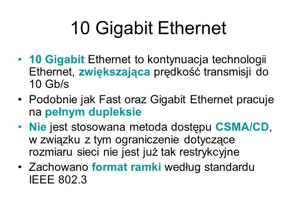 10 Gigabit Ethernet 10 Gigabit Ethernet to kontynuacja technologii Ethernet, zwiększająca prędkość transmisji do 10 Gb/s.