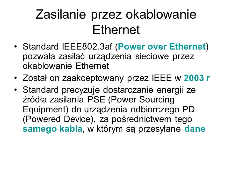 Zasilanie przez okablowanie Ethernet