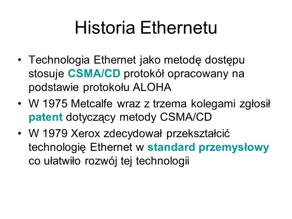 Historia Ethernetu Technologia Ethernet jako metodę dostępu stosuje CSMA/CD protokół opracowany na podstawie protokołu ALOHA.