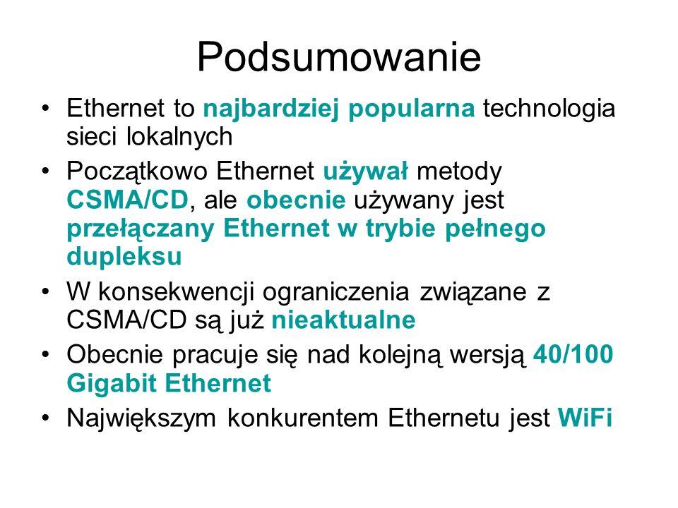 Podsumowanie Ethernet to najbardziej popularna technologia sieci lokalnych.
